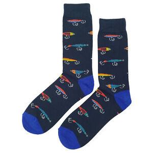 NWT Fishing Lure Dress Socks Novelty Men 8-12 Black Fun Sockfly