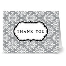 24 Thank You Note Cards - Damask - Gray- Gray Envs