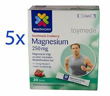 Multinorm MAGNESIUM 250mg + 12mg Vitamin E DIREKT ohne Wasser 5x20 Sticks