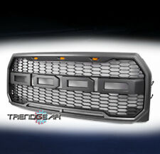 MESH HOOD STYLE GRAY GRILLE GRILL W/AMBER LED LIGHT FOR 2015-2017 F-150 F150