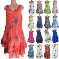 Damen Boho Strandkleid Kleider Sommerkleid Minikleid Tunika Ärmellos Longtop 46