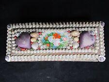 Antique Victorian Seashell Box Sailor Valentine Shells 2 Heart Pincushions