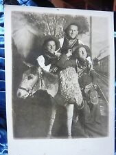 ANTIQUE  RPPC POSTCARD PHOTO cowboys posing on TAXIDERMY donkey   GREAT PHOTO