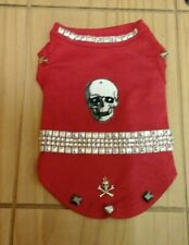 Designer small dog clothes /puppy/chihuahua red &silver skulls &studs vest.