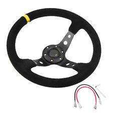 350mm Deep Dish 6 Bolt JDM Steering Wheel Horn Button Black Suede Yellow Stripe