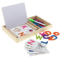 Wooden Alphabet Puzzle Matching Flash Cards English Writing Cognitive Toy