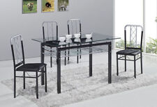 Unbranded Glass Up to 4 Rectangular Table & Chair Sets