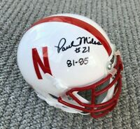 NEBRASKA HUSKER FOOTBALL PAUL MILES #21 SIGNED MINI HELMET THE SCORING EXPLOSION