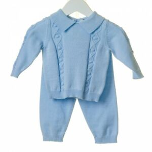 Gorgeous  boys Spanish knitted blue baby outfit suit set occasions casual wear