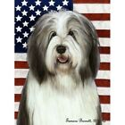 Patriotic (D2) Garden Flag - Blue and White Bearded Collie 321701