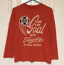 Gap Kids T-Shirt Long Sleeve Red Athletic Soccer Goal Graphic Boy's XL 12