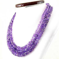 Purple Amethyst 660.00 Cts Natural Untreated Round Shape Beads 3 Strand Necklace