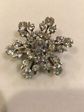 """Vintage Silver Tone Starburst/Snowflake Crystal Brooch Pin 1 5/8"""""""