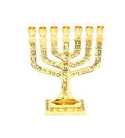 "menorah, Menora holyland 7 branches Jerusalem 12 Tribes of Israel gold H-4.6"""