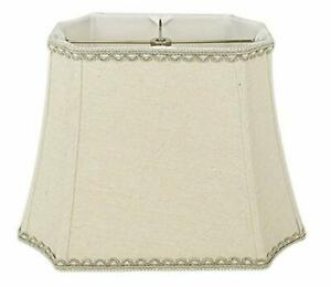 Linen Natural Rectangle Inverted Cut Corner Lampshade with Matching Braid Trim