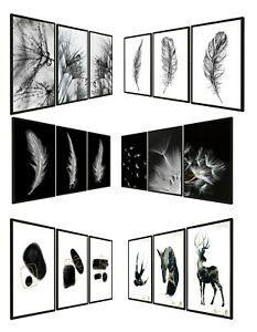 Set of 3 Abstract Wall Art Prints Living Room Bedroom Black & White Posters A3
