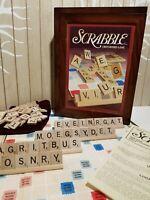 Scrabble COMPLETE Vintage Game Collection Crossword Wood Box Bookshelf Word