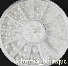 5 Sizes DIY Nail Art Decoration Strass Flat Back Half Round White Pearl #R18