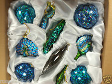 Large Set of 10 Pcs Peacock Theme Christmas Glass Ornaments Blues Greens NIB