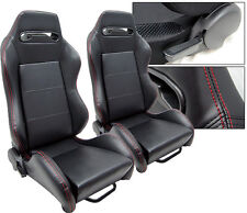 NEW 1 PAIR BLACK LEATHER + RED STITCH RACING SEATS ALL FORD *