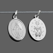 Weiß Gold 333 Hl. Maria wundertätige Madonna Immaculata Milagrosa + Silber Kette