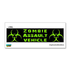 Zombie Assault Vehicle Green on Black Biohazard Window Bumper Sticker