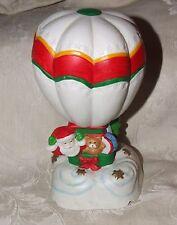 Vintage BISQUE MUSIC BOX Santa in Hot Air Balloon Santa Claus is Coming to Town