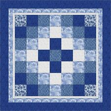 SPARKLING BLUE AROUND THE WORLD Quilt Top only, Machine Pieced, made in USA