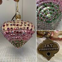 JAY STRONGWATER Pink White Green Crystal-Studded Heart Christmas Ornament