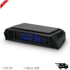 Solar Clock Digital LED Clock Calendar for Vehicle Auto Car Truck Blue Display