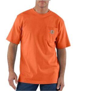New Carhartt Men's Short Sleeve Pkt Orange Work Shirt Regular, Big, Tall Fit K87