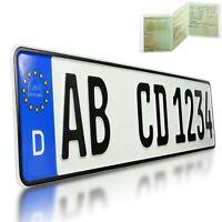 1 Stück EU KFZ Nummernschild Kennzeichen + KFZ Schein Schutzhülle , DHL Versand