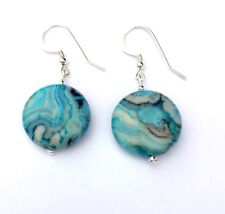 BLUE CRAZY LACE AGATE Dangle Sterling Silver Earrings  9213