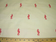 "~5 YDS~ ""SEAHORSE"" SEALIFE EMBROIDERED UPHOLSTERY FABRIC FOR LESS"