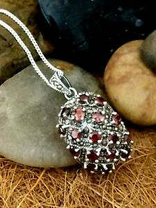 925 Oxidised Silver Garnet Pendant Statement Necklace Ladies Christmas Gift