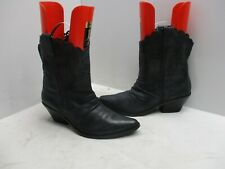 Guess By Marciano Black Leather Punch Hole Shafts Short Cowboy Boots Size 8.5 M