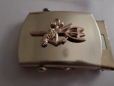 U.S MILITARY NAVY UDT GOLD INSIGNIA SOLID BRASS BELT BUCKLE MADE IN THE U.S.A
