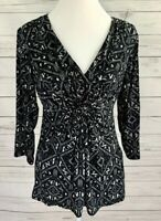 Daisy Fuentes Top Womens Large L Black V-Neck 3/4 Sleeve Stretch Blouse