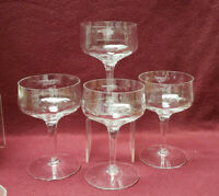 """FOUR (4) SENECA Crystal - REFLECTION CLEAR Optic pattern - 5"""" CHAMPAGNE SHERBETS"""