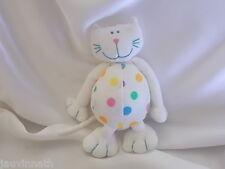 Doudou chat blanc, pois multicolore, grelot, Bout'chou