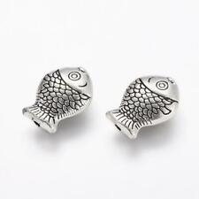 10pcs Fish Style Tibetan Silver Beads 14mm Jewellery Making