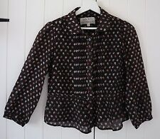 Jack Wills Brown Floral Print Silk & Cotton 3/4 Sleeve Blouse Top UK 10