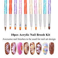 10 Pcs Nail Art Acrylic UV Gel Design Brush Set Painting Pen Tips Tools Kit
