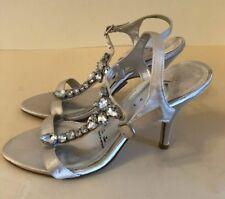 DEBUT - Stunning Silver Satin & Diamanté Sandals - Size UK 5 / 38
