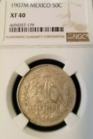 1907 M MEXICO SILVER 50 CENTAVOS NGC XF 40 EARLY DATE NICE COIN !!!