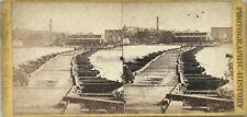Richmond Pontoon Bridge USA Photo Stereo Vintage Albumine