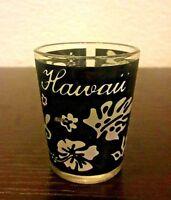 Hawaii Dark Blue Black White Hibiscus Flowers Print Shot Glass 2001 Alcohol Cup