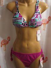 NWT Roxy/Raisins L Magenta 2 Pc Bikini Swimsuit Oaxaca Trianlge Sweet Pea Pant