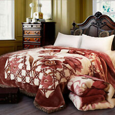 Double-layer Floral Raschel Blanket Soft Warm Plush Queen King Throws Bed Cover