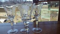 Vintage Etched Wine Glasses Elegant cut floral elegant bowl design 4 5 oz